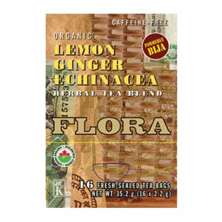 FLORA ORGANIC TEA LEMON GINGER ECHINACEA 16 BG