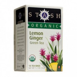 STASH ORGANIC LEMON GINGER GREEN TEA 18 BG