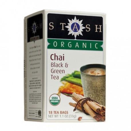 STASH ORGANIC CHAI BLACK & GREEN TEA 18 BG
