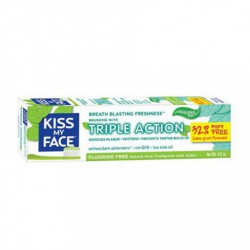 KISS MY FACE TRIPLE ACTION FLUORIDE FREE TOOTHPASTE GEL COOL MINT 133 ML