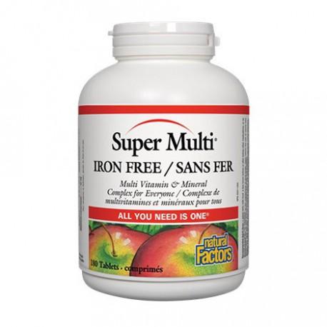 NATURAL FACTORS SUPER MULTI IRON FREE 180 TB