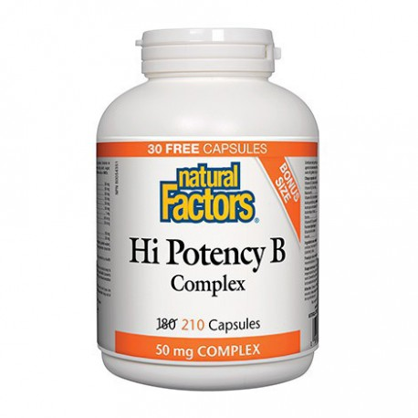 NATURAL FACTORS HI POTENCY VITAMIN B COMPLEX 50MG BONUS SIZE 210 CP