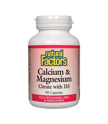 NATURAL FACTORS CALCIUM & MAGNESIUM CITRATE WITH D3 90 CP