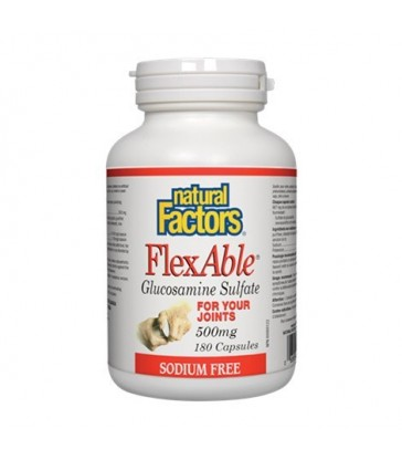NATURAL FACTORS FLEXABLE GLUCOSAMINE SULFATE 500MG SODIUM-FREE 180 CP