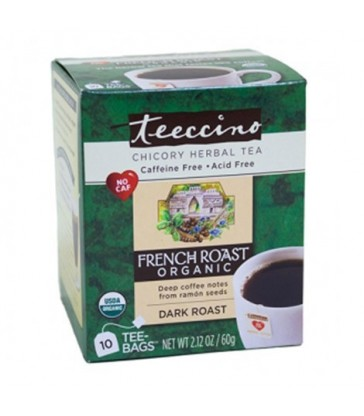 TEECCINO HERBAL COFFEE TEA BAGS ORGANIC FRENCH ROAST 10 BG